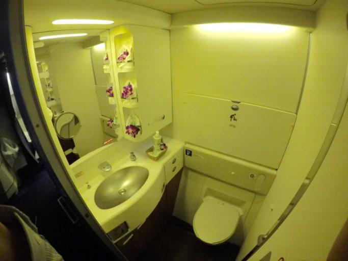 thai airways, toilet, boeing 747, royal first