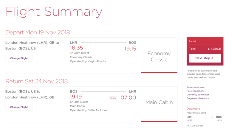 Als je een vlucht met Virgin Atlantic apart boekt ben je veel duurder uit