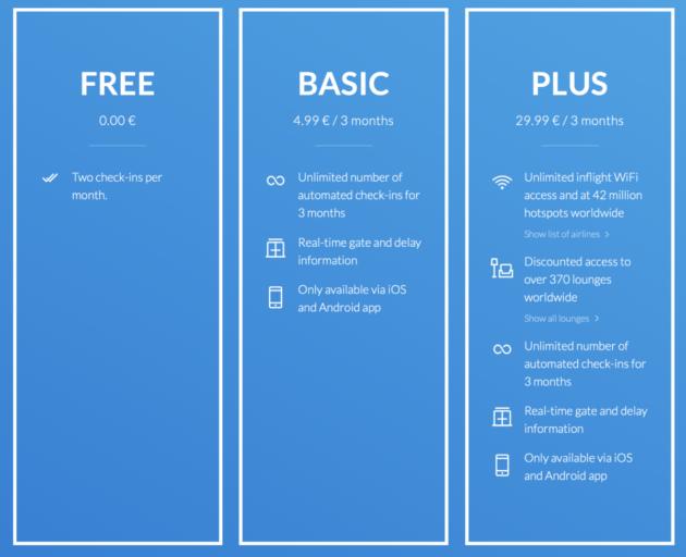 Alle features van de app verdeeld over drie abonnementen.