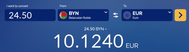 Belarus Rubel naar Euro