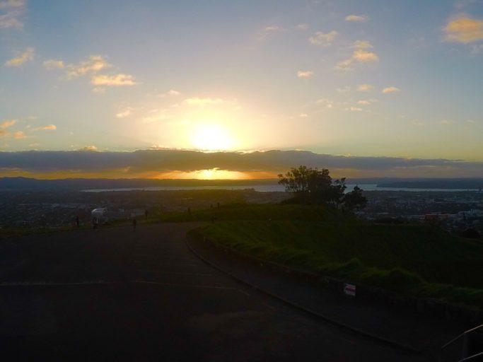 zonsondergang, mount Eden, Auckland, nieuw Zeeland
