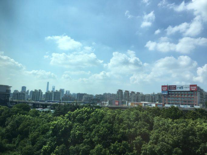 Uitzicht vanuit de Maglev trein