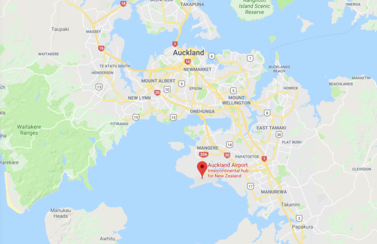 Auckland, akl, luchthaven, locatie