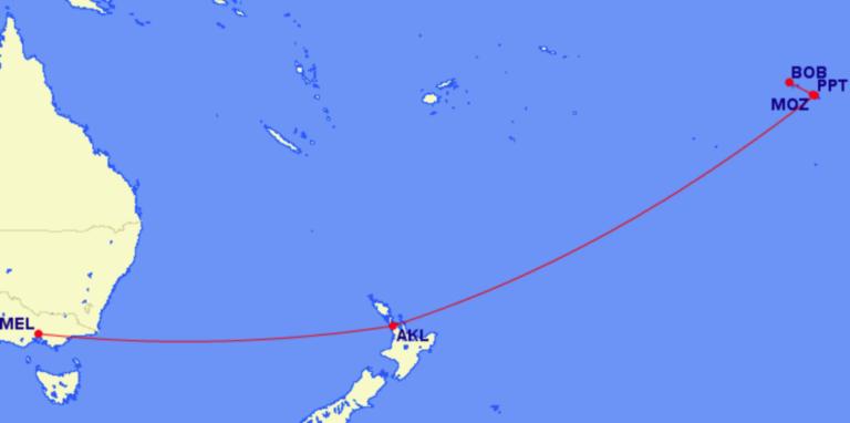 frans-polynesië, vluchten