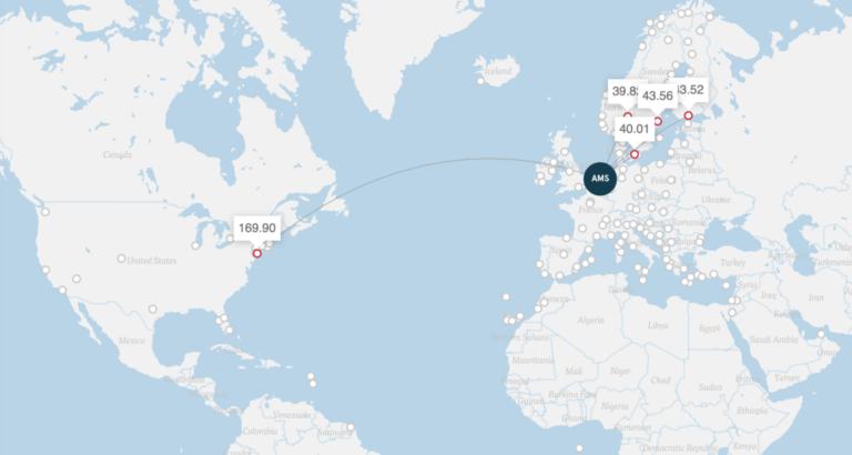 Vlieg van Amsterdam naar New York, prijzen in euro (Bron: Norwegian)
