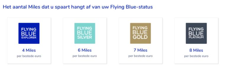 Hoe hoger je status, hoe meer miles je krijgt per bestede euro