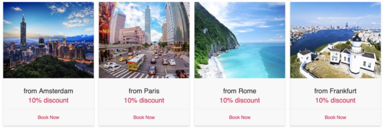 10% korting op alle vluchten vanuit Europa met China Airlines