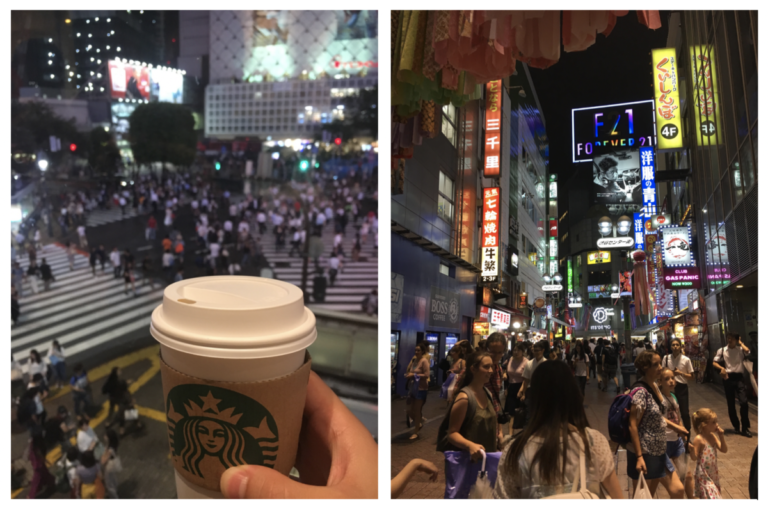 Het drukke Shibuya district met Shibuya Crossing