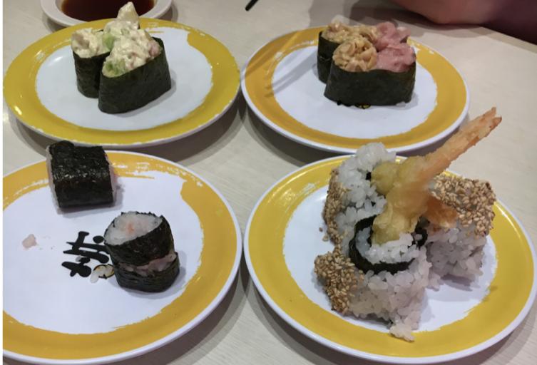 Sushi bij Uobei Shibuya Dogenzaka in Shibuya