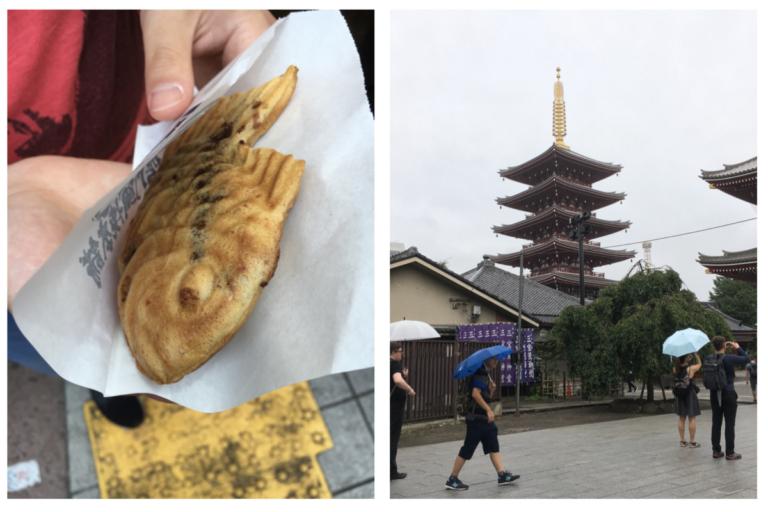 Een Japanse lekkernij: deeg gevuld met zoete bonen, gekocht nabij de tempel