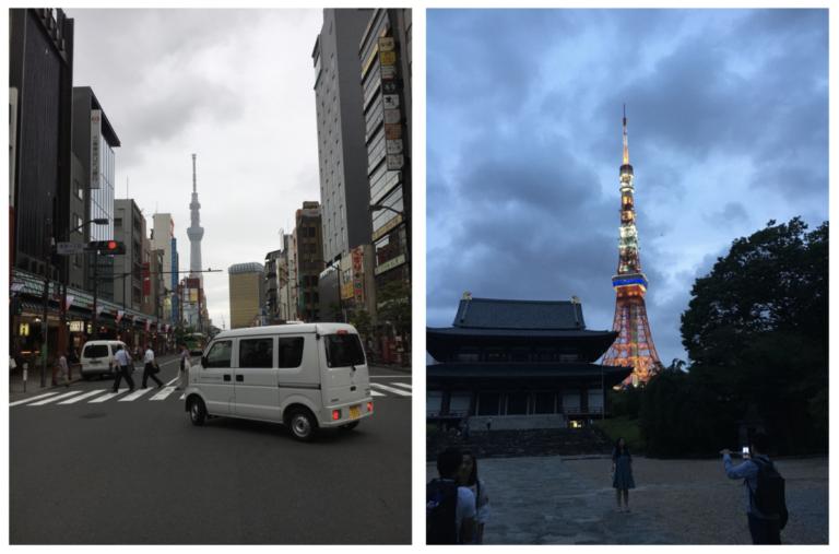 De Tokyo Tower (L) en de Tokyo Sky Tree (R)