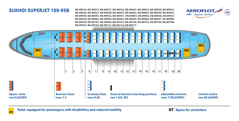 Huidige stoelindeling Superjet 100 (Bron: Aeroflot)