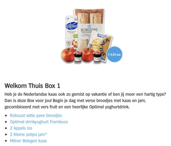 Welkom Thuis Box variant 1. Geschikt voor twee personen (12,50 euro)