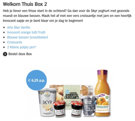Welkom Thuis Box variant 2. Geschikt voor twee personen (12,50 euro)