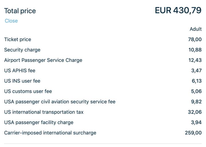 Prijsspecificatie van de vlucht AMS-JFK met KLM (Bron: KLM.com)