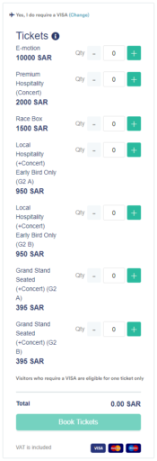 Tickets voor Saudi Arabie Formule E race
