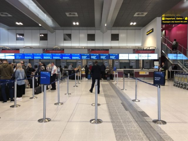 united airlines, check-in, manchester