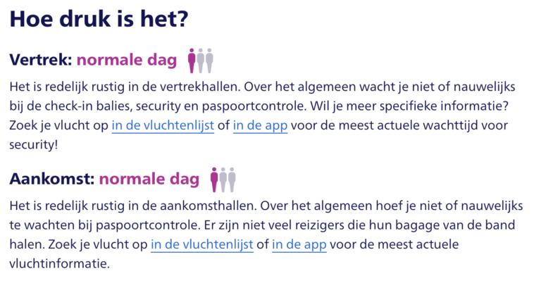 Schiphol vertelt je wanneer het druk is op de luchthaven (Bron: Schiphol)