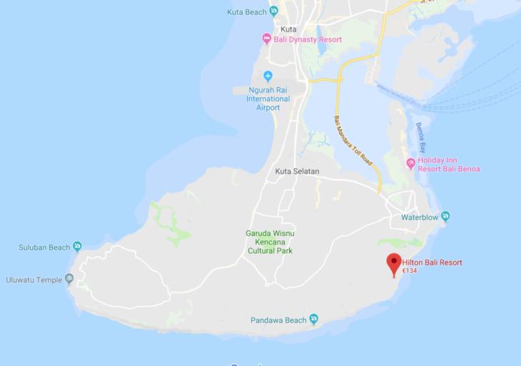 hilton, bali, resort, locatie