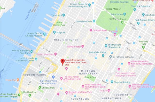 doubletree, time square, hilton, New York, locatie