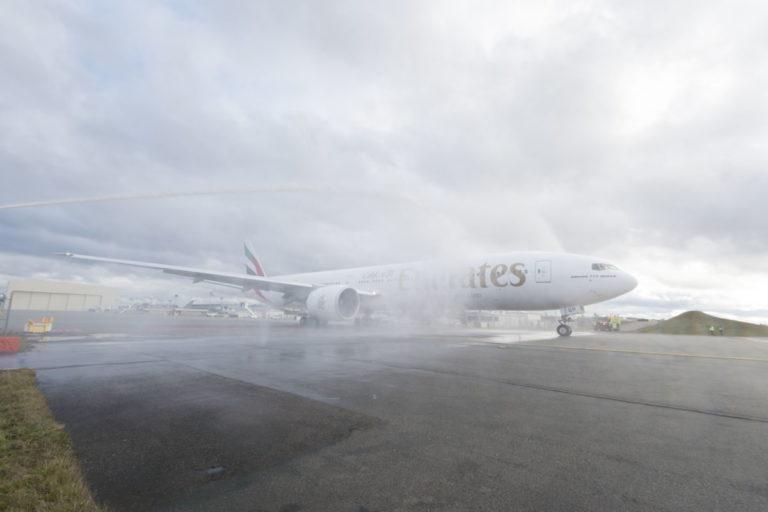 Ontvangst van de Boeing 777-300ER in Dubai