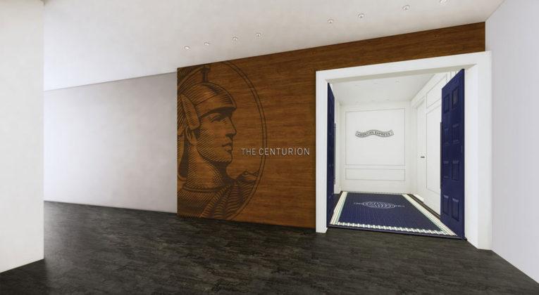 Een impressie van de ingang van de lounge in Londen (Bron: American Express)
