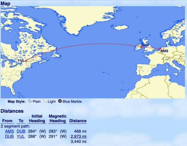 De afstand tussen Dublin en Montreal ligt net onder de 3000 mijlen!