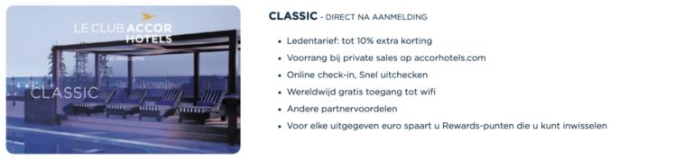 Voordelen van de Classic status (Bron: AccorHotels)
