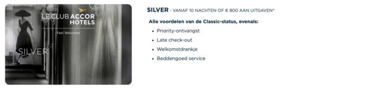 Voordelen van de Silver status (Bron: AccorHotels)