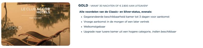 Voordelen van de Gold status (Bron: AccorHotels)