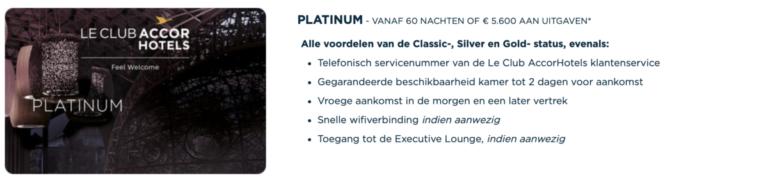 Voordelen van de Platinum status (Bron: AccorHotels)