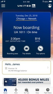 Vanuit het nieuwe menu in de United app kun je gemakkelijk de belangrijkste info opvragen (Bron: United)