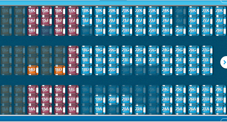 KLM B787-10 voorste deel economy class