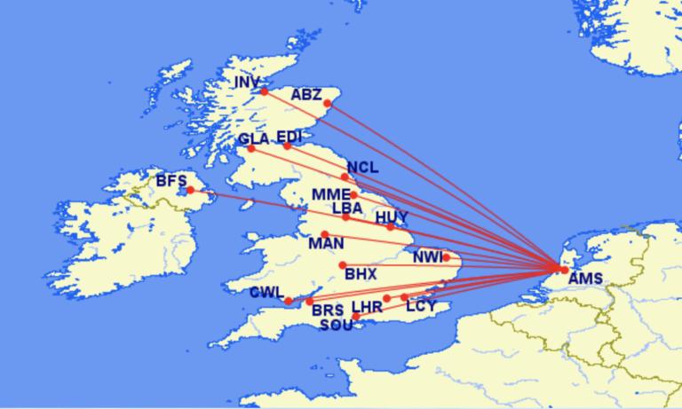 KLM bestemmingen in het Verenigd Koninkrijk