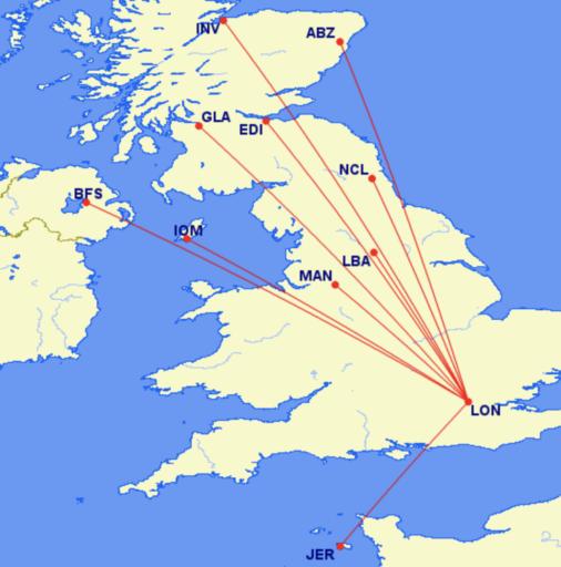 Binnenlandse verbindingen van British Airways met Londen