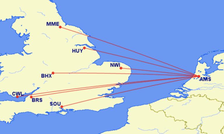 Britse KLM bestemmingen waar BA niet vliegt