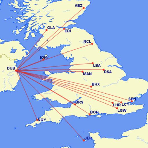 Bestemmingen van Aer Lingus in het Verenigd Koninkrijk