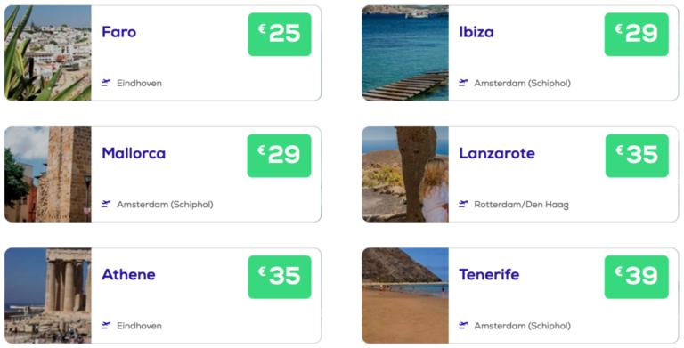 Zonbestemmingen bij Transavia boek je vanaf €24 per enkele reis (Bron: Transavia)