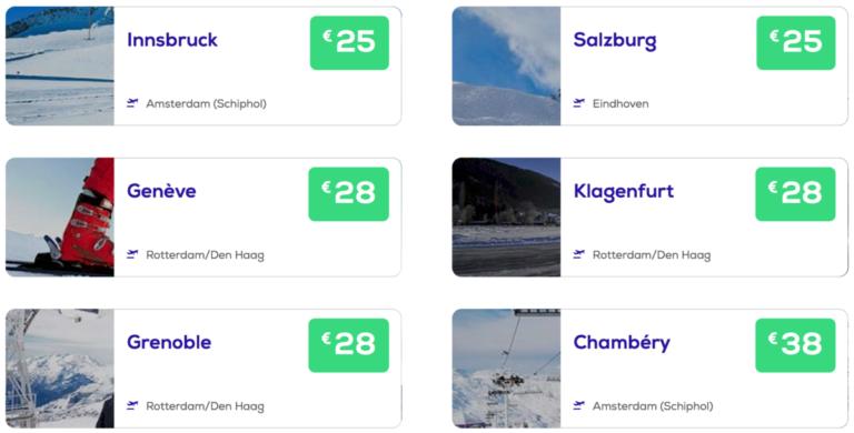 Liever met wintersport? Deze bestemmingen boek je vanaf €25 (Bron: Transavia)