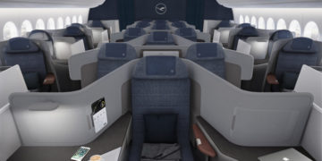 Business Class cabine in de Boeing 777-9 van Lufthansa (Bron: Lufthansa Group)