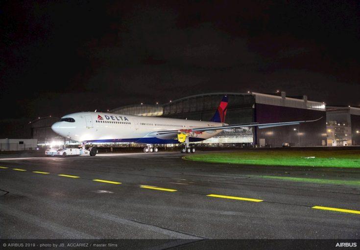 Eerste Delta A330-900, maar er mist nog iets (Bron: Delta, JB. Accariez, Master Films)