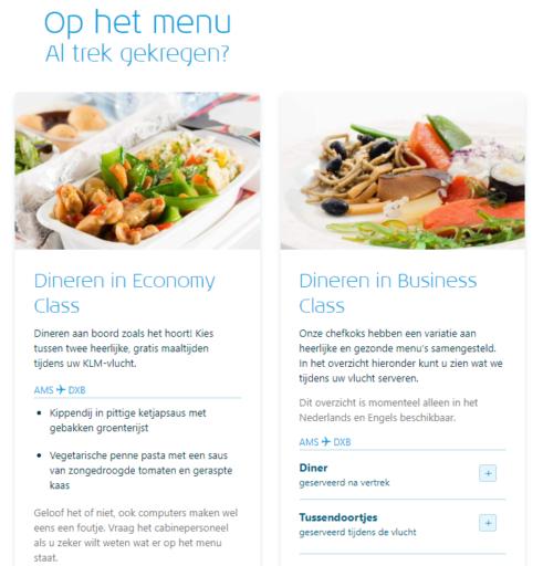 Menu KLM Flight Guide