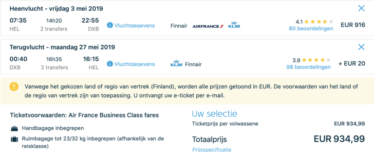 Verdien 108XP voor maar €900,- in Business Class naar Dubai