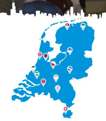 De locaties van de KLM Urban Trails (Bron: KLM)