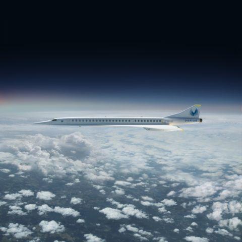 Rendering van het supersonische toestel van Boom (Bron: Boom Inclusief.)
