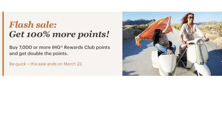 Flash sale IHG Rewards Club met 100% bonus