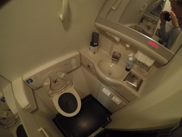 business class, toilet, Japan airlines