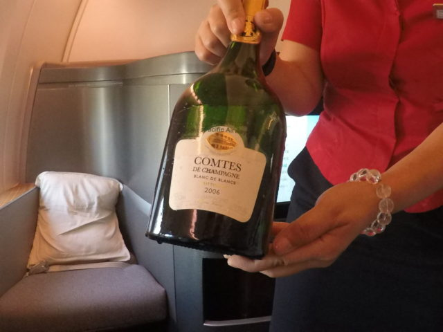 champagne, cathay pacific, first class