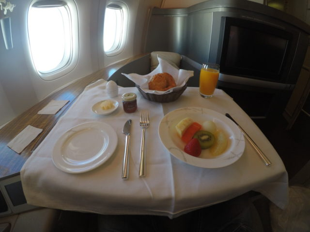 cathay pacific, first class, voorgerecht