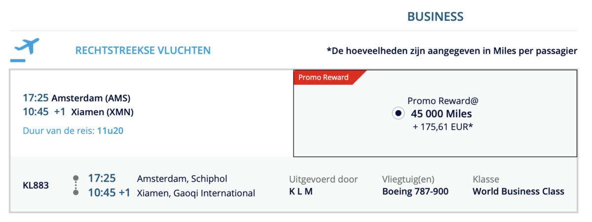 KLM vlucht naar Xiamen